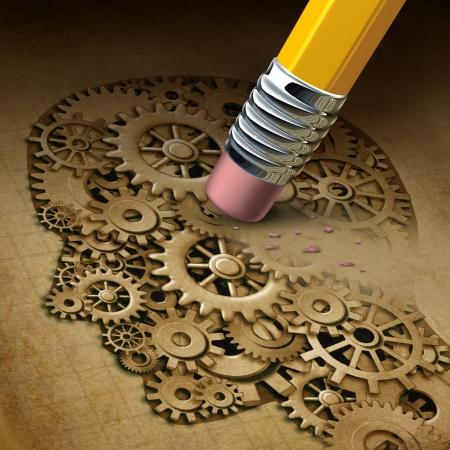 recordar: Pérdida de la función cerebral concepto de salud mental como un símbolo de la enfermedad de la demencia y una inteligencia perdida y los recuerdos tan alzheimers como un icono médico de neurología y de pensamiento problemas con un lápiz borrar una cabeza humana hecha de engranajes y ruedas dentadas Foto de archivo