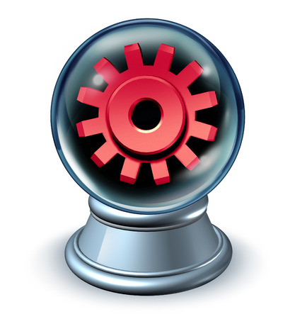 Business predictions and financial forecast concept as a crystal ball revealing the future economy with a visualize metaphor using a red cog or gear as a symbol of investment insight on a white background  photo