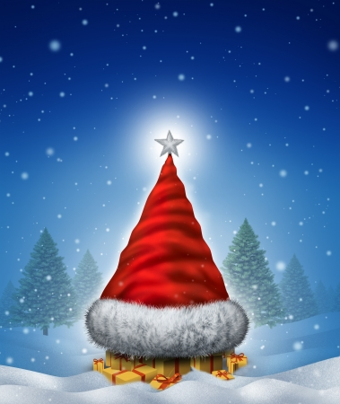 Christmas hat tree concept with a Santa Clause red head gear shaped as a winter pine icon with gifts with red ribbons and bows as a seasonal symbol of winter celebration and festive new year on a cold snowing night  photo