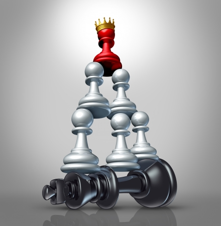 team strategy: Collaboration strategy and team victory as a business concept with a chess game metaphor for changing market leadership by teaming up in partnership and working together to dominate a powerful competitor