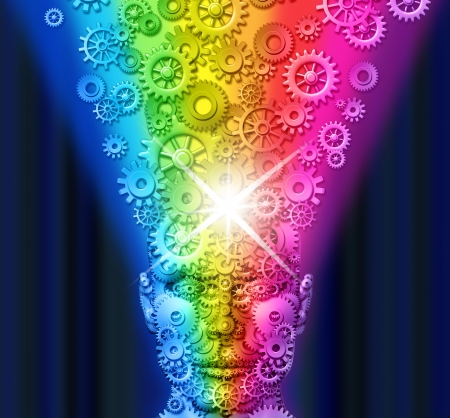 Creative innovation and inspiration spark with a front view human head made of technology gears and cogs with a mind that is exploding rainbow color gear wheels as a business metaphore for marketing and communication. Foto de archivo