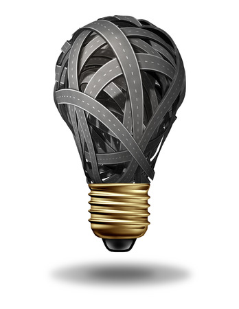 Direction inspiration business concept with a group of roads and highways in the shape of a light bulb as a creativity stress metaphor for confused strategy and planning on a whte background  photo