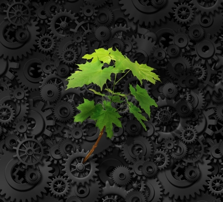 Environment and business concept with a background made of industrial gears and cog wheels and a determined green sapling tree emerging out of the heavy steal machine as a metaphor for environmental responsability and nature conservation. photo