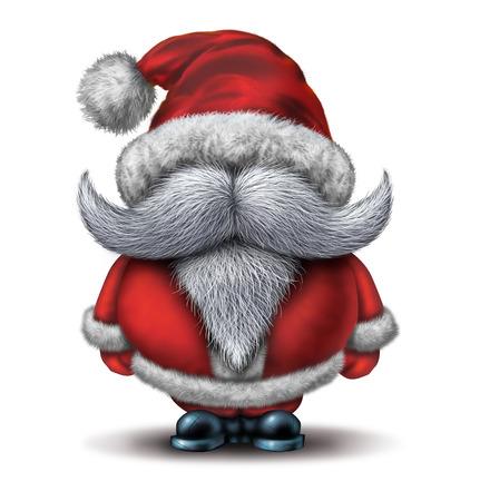 Concept drôle de personnage de père noël avec une grande barbe blanche joyeux vêtu d'un costume de neige rouge comme icône humoristique de Noël d'amusement et joyeuse célébration de vacances d'hiver sur un fond blanc.