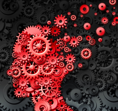 brain works: Human brain injury or damage and neurological loss or losing memory and intelligence due to physical concussion trauma and head injury or alzheimer disease caused by aging with red gears and cogs in the shape of a thinking mind  Stock Photo