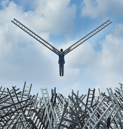 New leadership solutions business concept with a businessman rising up from a group of confused tangled ladders using the ladder metaphor as bird wings to escape and fly towards opportunity and financial freedom
