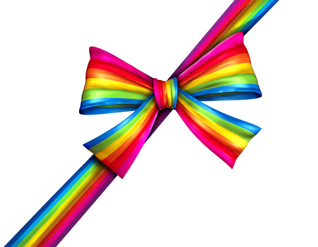 Rainbow diagonal gift ribbon bow as a silk present with wrapping tape of bright spectrum colors for charity donation giving on Christmas or winter holiday new year celebration isolated on a white background