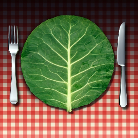 market place: Vegetarian cuisine as a healthy lifestyle food concept with a fork and knife place setting as a green vegetable leaf shaped as a dinner plate on a checkered restaurant table cloth as a metaphor for market fresh nutritious cooking