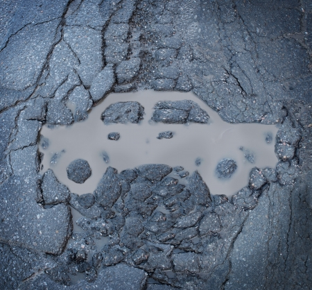 dirty car: Car insurance concept with a pot hole and a dirty puddle on a broken cracked asphalt pavement in the shape of an auto as a symbol of road hazards and highway damage as a cause of automobile traffic accidents