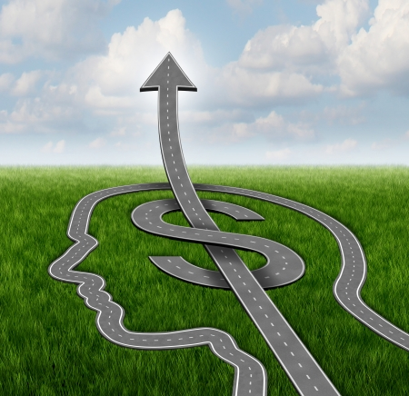 path to success: Financial growth path business concept with a group of roads or streets shaped as a human head and a dollar symbol with an arrow pointing up  as a metaphor for investing strategy and planning success  Stock Photo