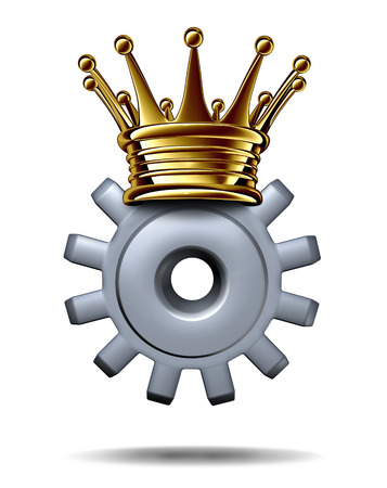 power within: Industry king and leadership solutions business concept as a gear or cog wearing a gold crown as an icon of an accomplished leader of technology innovation and champion of efficient production on a white background