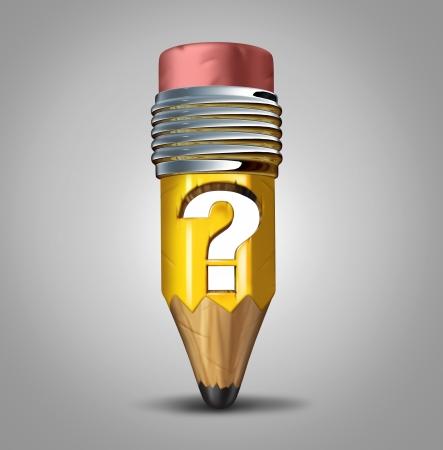 선거에서 투표에 교육 계획과 관련있는 전략 불확실성 또는 혼란에 대한 은유로 나무에 돋을 새김 구멍 소형 연필로 연필 물음표 개념