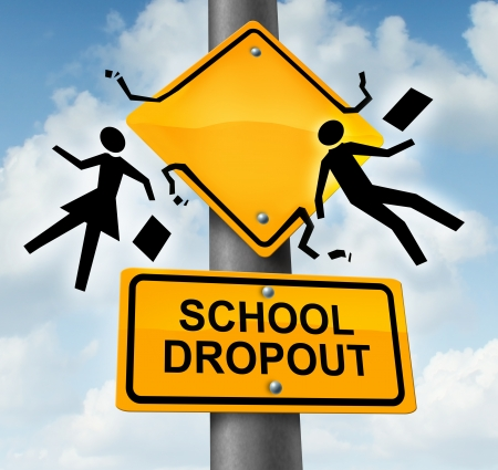 School dropout concept and dropping out of the education system as a yellow road traffic sign with graphic symbols of two students falling down with their books as a metaphor for quitting training and schooling