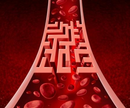 Bloed circultation problemen en geblokkeerde slagaders zorgconcept met een menselijke slagader die een blokkade in de vorm van een doolhof of labyrint als metafoor voor de medische uitdagingen ofpoor bloedcellen flow en bloedsomloop ziekte heeft