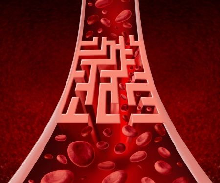 human blood circulation: Blood circultation problems and blocked arteries health care concept with a human artery that has a blockage shaped as a maze or labyrinth as a metaphor for the medical challenges ofpoor blood cell flow and circulatory illness