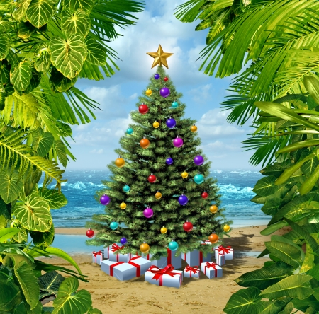 tropical beaches: Christmas tree beach celebration on a tropical island with presents and gifts with framed by plants from the tropics as a concept for winter holidays or relaxing vacation far from the snow on the hot sand by the sea and new year festivities  Stock Photo
