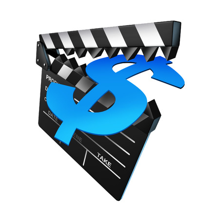 Entertainment prices as an open black clap board symbol with pointy teeth biting into a money dollar sign as a metaphor for the high cost of movie tickets and cinema production budgets represented by an isolated film slate  photo