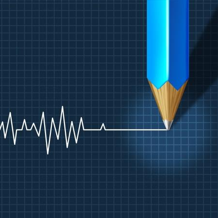 interventie: Euthanasie Medische Interventie als medisch zorgconcept van arts sociaal dilemma in afgedankte ontslagvergoedingen als potloodtekening een ECG flatline op een monitor grafiek
