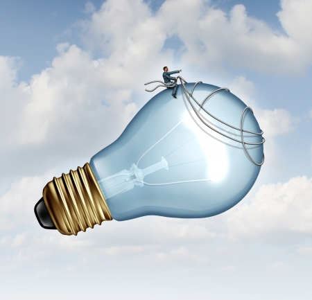 Innovation guidance business concept and creative inspiration with strategic leadership imagination of new ideas as a businessman guiding a giant light bulb using a harness to pilot innovative inventions to success  Фото со стока