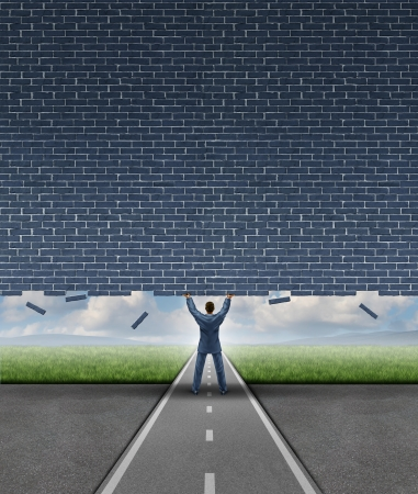business obstacle: Open opportunity business concept with a strong businessman on a road or path  lifting up a heavy brick wall breaking free and opening up a doorway and removing an obstacle to success through leadership and vision