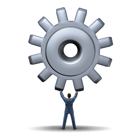 powerful creativity: Powerful business leadership metaphor with a businessman lifting up a giant metal gear or cog as a symbol of financial management success demonstrating strength and skill to manage and guide an organization