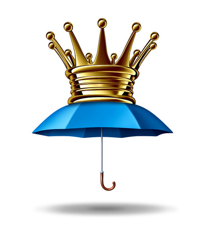 best security: Protection leadership business concept as a blue umbrella with a gold crown as a metaphor for the bestfinancial security and guarding wealth and stability in a volatile economy on a white background