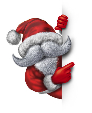 joyous: Santa Claus holding a vertical blank sign as a mascot concept with a cheerful huge white beard wearing a red snow suit as humorous icon of Christmas fun and joyous winter holiday celebration on a white vertical background with copy space  Stock Photo
