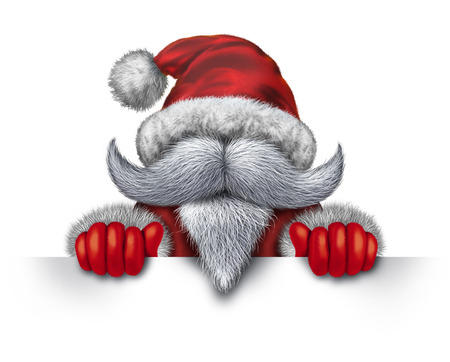 Santa Claus holding a horizontal blank sign as an icon with a white beard and a red snow suit for Christmas fun and joyous winter holiday celebration on a white background with copy space Stock Photo - 24000230