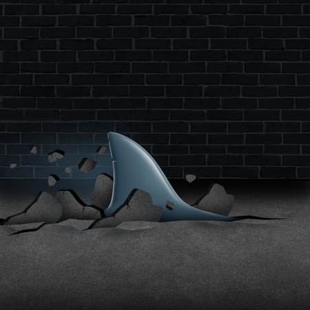Urban risk and the danger of life in the city as a social concept with an anxiety disorder metaphor of a shark breaking through street asphalt  and moving towards a victim of violence as a symbol of economic and society hazards 版權商用圖片