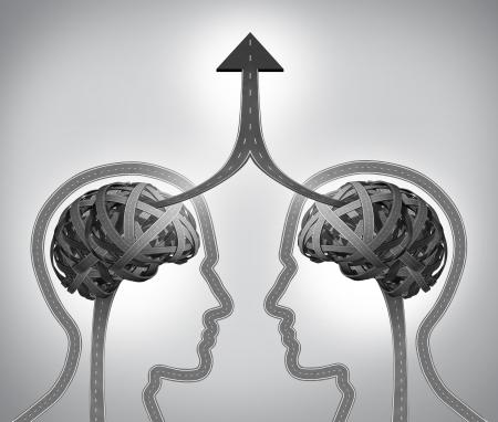 Alleanza concetto di successo aziendale come un gruppo di strade e vie a forma di due teste umane con un cervello intricata che si fondono insieme attraverso la gestione del team in collaborazione e partnership come una freccia verso l'alto per un obiettivo comune
