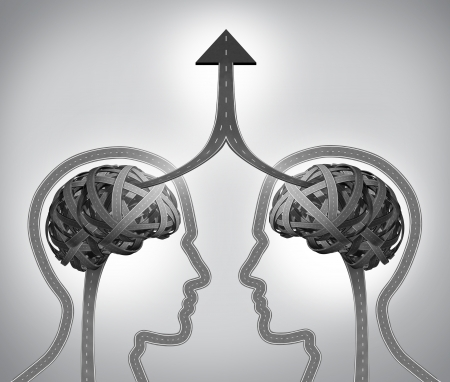 merging together: Alliance success business concept as a group of roads and streets shaped as two human heads with a tangled brain merging together through team management in collaboration and partnership  as an upward arrow to a common goal
