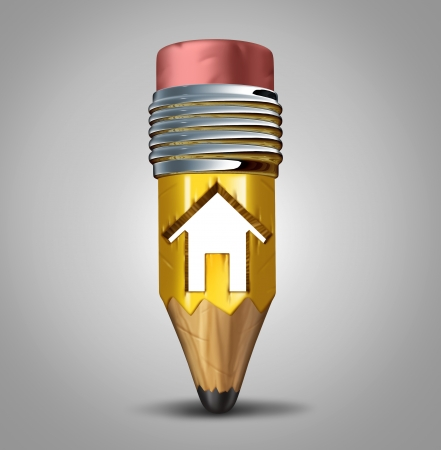 Construction plan concept as a pencil with a house icon cut into the wood as a metaphor for creative planning of a home or housing project and a symbol for architectural creativity and residential design for building strategies Stock Photo - 24220553