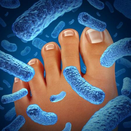bacterial infection: Batteri piede malattia che causa un odore puzzolente con un primo piano del corpo umano, mostrando le dita dei piedi con il blu batterica pericolo di infezione come simbolo di malattia della pelle come podologia o concetto di medicina podiatric Archivio Fotografico
