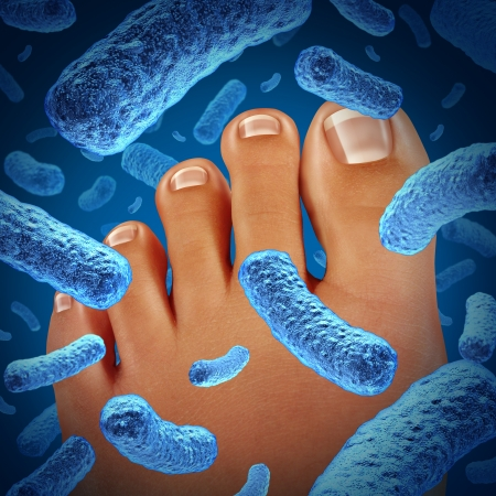 odor: Foot bacteria disease causing a smelly odor with a close up of the human body showing toes with blue bacterial infection danger as a symbol of skin illness as a podiatry or podiatric medicine concept