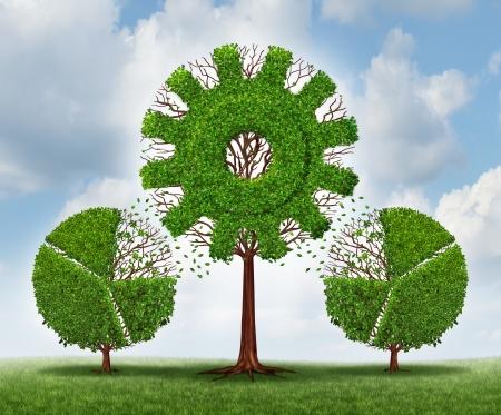 Invertir en un negocio para el crecimiento como un concepto financiero con árboles en forma como un gráfico de sectores financieros y la transferencia de activos de préstamos a una marcha en crecimiento o una planta en forma de rueda dentada como una idea de la creciente estrategia de la industria Foto de archivo