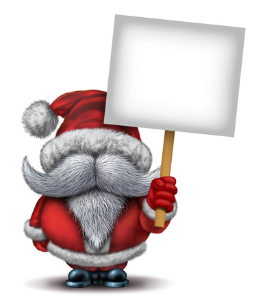 x mas background: Santa Clause holding a blank placard sign as a fun icon person with a white beard and a red snow costume for Christmas fun and joyous winter holiday celebration on a white background with copy space