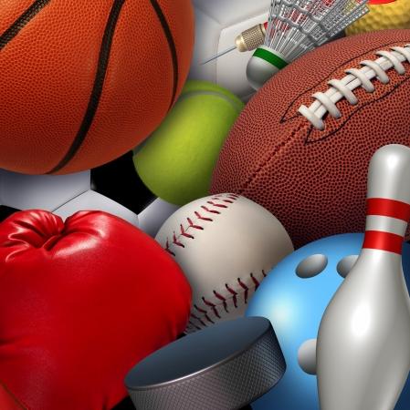 pelotas de deportes: Fondo de concepto deportivo con un grupo de equipos deportivos como una pelota de golf del b�isbol del baloncesto del balompi� f�tbol tenis y b�dminton disco de hockey como divertidas actividades de recreaci�n saludable y de ocio para el equipo y juego individual por la salud