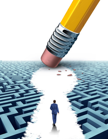 persistence: Create the key leadership Solutions with a businessman walking through a complicated maze opened up by a pencil eraser shaped as a keyhole symbol as a business concept of innovative thinking for financial success  Stock Photo