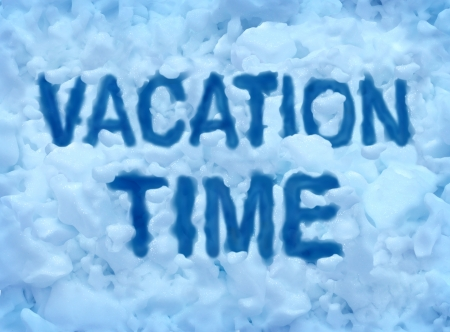 frigid: Vacation time concept with a cold freezing snow background with text embossed in the ice srystals as a symbol for escaping the frigid winter weather to a warmer climate for relaxation and holiday bliss
