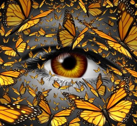 通信の自由ビジネスとライフ スタイル概念の近くで人間の目の想像力の表現と革新的なビジョンの自由のための創造的な隠喩として飛行モナーク蝶