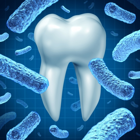 Dental hygiene as an oral health symbol with a single molar and a group of three dimensional bacteria causing tooth disease destroying enamel resulting in cavities and gum disease on a white background