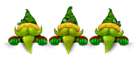 helpers: Elf banner with a group of santa claus helpers as green troll like characters with green beards as Christmas symbols with three elves holding a white blank sign communicating a festive message of winter new year celebration