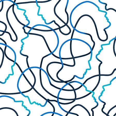 komunikace: Internet komunita sítí sociální organizace a globální komunikační spojení jako technologické koncepci se skupinou propojených symbolů lidské hlavy jako metafora pro jednotu a komunikaci na webu