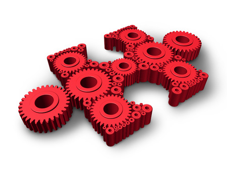 Missing piece business and industry concept with an independant three dimensional red jigsaw puzzle part made of gears and cog wheels connected together as a symbol of technology solutions and expertise in solving problems