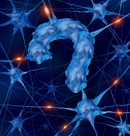Neurology questions medical concept with active human neurons shaped as a question mark as a metaphor for scientific research into the brain and neurological diseases as parkinsons alzhiemers autism dementia as part of the  nervous system anatomy