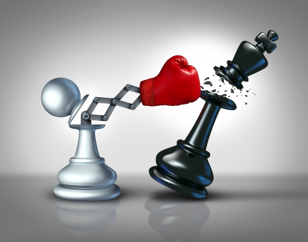 creative strength: Secret weapon business concept with a chess pawn punching and destroying the competition king piece with a hidden red boxing glove as a metaphor for innovative corporate strategy and planning to win the game  Stock Photo