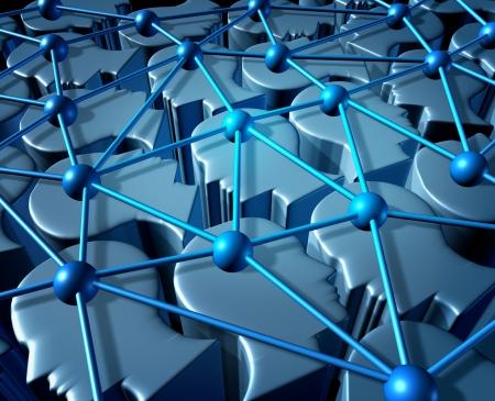 colaboracion: Redes sociales y redes de personas la comunicaci�n con un grupo conectado de tres cabezas humanas tridimensionales como s�mbolo de negocios y tecnolog�a vinculado en una asociaci�n mundial para colaborar en la comunidad web y de Internet Foto de archivo