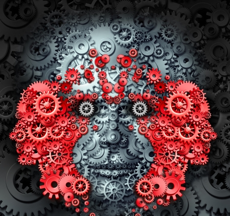 Leadership and learning business and education concept with a group of human heads made from gears and cog wheels as a metaphor for creative innovative vision to learn and lead an organization to success  photo