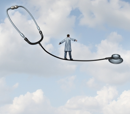 health care decisions: Medical decisions health care concept with a doctor in a lab coat walking a tight rope made from a stethoscope on a blue sky background as a metaphor for hospital therapy risk versus benefit as a balancing act for successful patient therapy