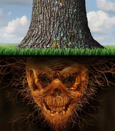 par�?s: Ocultos peligro y del riesgo como un concepto de negocio como un tronco creciente de �rbol con ra�ces subterr�neas de la planta en forma como un esqueleto humano el mal como un s�mbolo de la falta de honradez y de los peligros de fraude